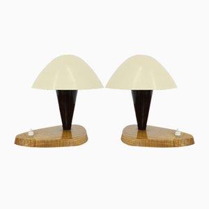 Lampade da tavolo in alluminio e legno, anni '50, set di 2