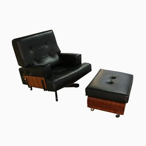 Italian Leather Swivel Lounge Chair & Ottoman Set by Menilio Taro for Cinova, 1964