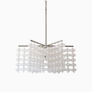 Großer deutscher Mid-Century Kronleuchter aus Glas und Stahl von Aloys Ferdinand Gangkofner, 1960er
