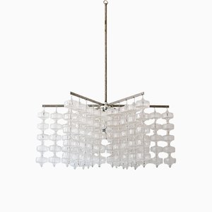 Large Mid-Century German Glass and Steel Chandelier by Aloys Ferdinand Gangkofner, 1960s