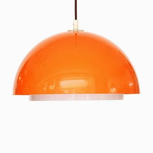 Orange Plastic 3161 Ceiling Lamp by Uno Kristiansson for Luxus, 1970s