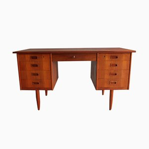 Modernist Danish Teak Desk with 9 Drawers