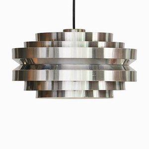 Lampada da soffitto in alluminio spazzolato e metallo cromato di Carl Thore / Sigurd Lindkvist per Granhaga Metallindustri, Svezia, anni '70