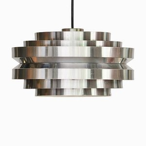 Swedish Chrome & Brushed Aluminum Ceiling Lamp by Carl Thore / Sigurd Lindkvist for Granhaga Metallindustri, 1970s