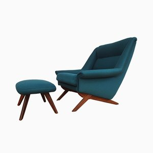 Scandinavian Modern Danish Teak and Wool Armchair from Mobelfabrik Horsens Denmark, 1970s