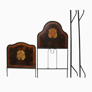 Antique Painted Wrought Iron Bed Headboard & Footboard, 1800s