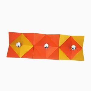 Applique Space Age in metallo arancione e giallo, anni '70, set di 3