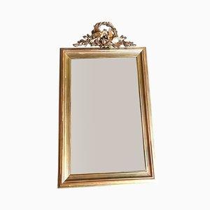 Specchio antico dorato decorato con colombe