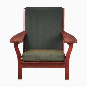 Dänischer GE320 Armlehnstuhl aus Teak und Wolle von Hans J. Wegner für Getama, 1960er