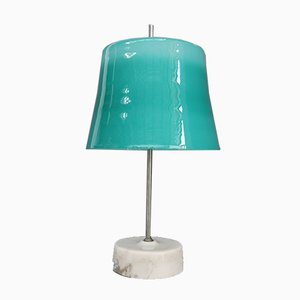 Mid-Century Italian Marbled Aluminum & Cased Glass Table Lamp by Oscar Torlasco, 1960s