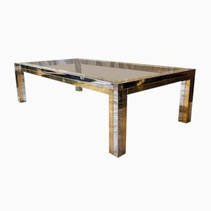 Large Italian Brass and Chrome Plating Coffee Table, 1970s