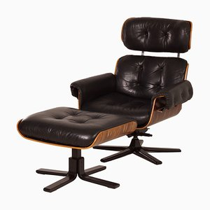 Leather and Rosewood Swivel Chair & Footrest Set by Martin Stoll for Giroflex, 1970s