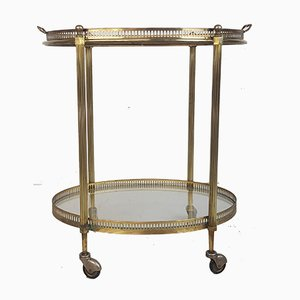 Vintage Brass and Glass 2-Tier Trolley