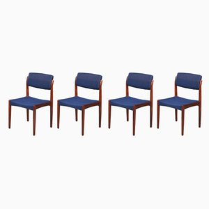 Danish Rosewood and Wool Dining Chairs by H. W. Klein for Bramin, 1960s, Set of 4