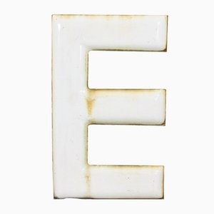 Vintage Industrial Enamel Letter E