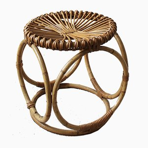 Italian Bamboo & Wicker Stool from Pierantonio Bonacina, 1950s