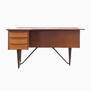 Dänischer Boomerang Schreibtisch aus Messing & Teak von Peter Løvig Nielsen für Løvig, 1950er