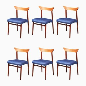 Danish Fabric and Teak Dining Chairs by Kurt Østervig, 1960s, Set of 6