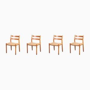 Dänische Esszimmerstühle aus Eichenholz und Papierkordel von Niels Otto Møller für JL Møllers, 1970er, 4er Set