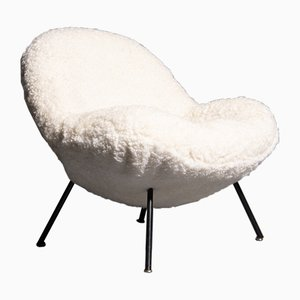 German Sheepskin Lounge Chair by Fritz Neth for Correcta, 1960s