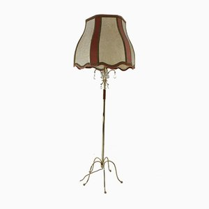 Vintage Brass and Lead Crystal Floor Lamp, 1930s