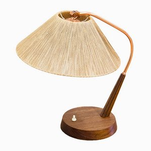 German Copper and Teak Table Lamp from Temde, 1960s