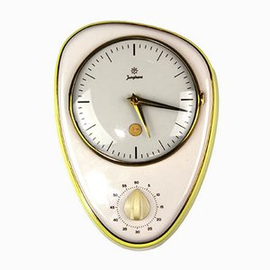 German Ceramic and Glass Clock with Egg Timer from Junghans, 1950s