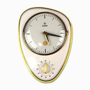 Horloge en Céramique et Verre avec Minuteur Oeuf de Junghans, Allemagne, 1950s