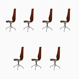 Walnut Lyra Model M-352 Dining Chairs from Häberli Theo, 1970s, Set of 7