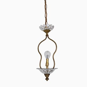 Vintage Brass and Glass Pendant Lamp
