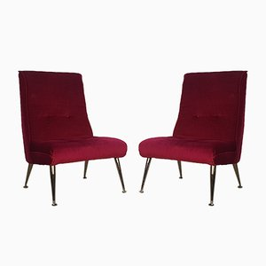 Brass and Red Velvet Lounge Chairs, 1950s, Set of 2