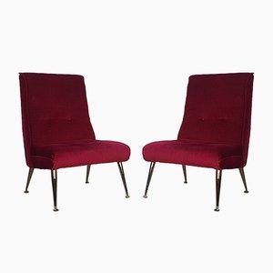 Poltrone in ottone e velluto rosso, anni '50, set di 2