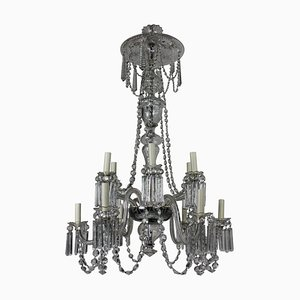 Antique Edwardian Cut Glass and Hand-Blown Glass Chandelier