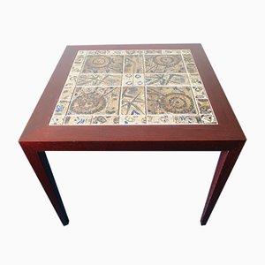 Table Basse Vintage en Palissandre et Faïence Artisanale par Severin Hansen pour Haslev
