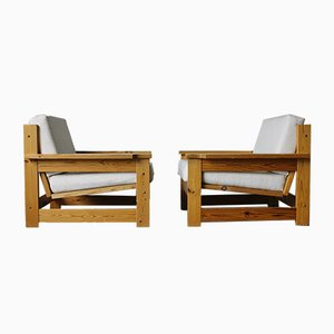 Danish Canvas and Pine Lounge Chairs, 1970s, Set of 2