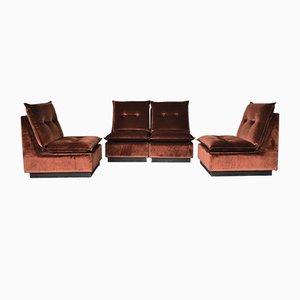 Vintage Italian Velvet Modular Sofa, 1970s