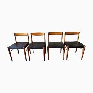 Chaises de Salle à Manger en Cuir Noir, Palissandre et Teck par H. W. Klein pour Bramin, Danemark, 1960s, Set de 4