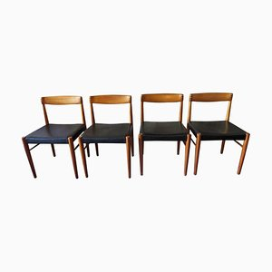 Danish Black Leather, Rosewood & Teak Dining Chairs by H. W. Klein for Bramin, 1960s, Set of 4