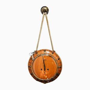 Deutsche Uhr aus Messing, Glas und Holz von Junghans, 1940er