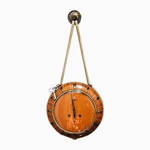 German Brass, Glass, and Wood Clock from Junghans , 1940s