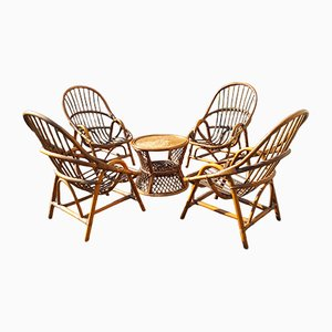 French Rattan and Bamboo Garden Coffee Table & 4 Chairs Set, 1970s