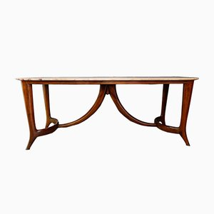 Mid-Century Italian Marble and Mahogany Dining Table by Guglielmo Ulrich, 1950s