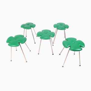 Italian Skai and Tubular Steel Clover Leaf Stool from Effezeta Italy, 1970s