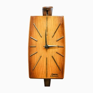 Mid-Century German Brass and Teak Electric Wall Clock from Dugena, 1960s