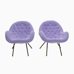 Mid-Century Brass and Lilac Mohair Cocktail Armchairs, 1950s, Set of 2