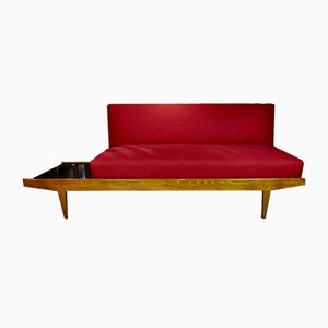 Dänisches Mid-Century Sofa mit integriertem Beistelltisch, 1960er