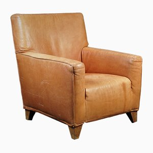 Vintage Cognac Leather Club Chair from Label, 1970s