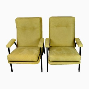 French Yellow Lounge Chairs, 1970s, Set of 2