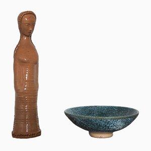 Französisches Set mit Keramikschale & Skulptur von Pierre Roulot, 1950er