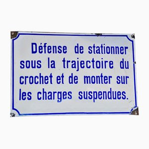 French Enameled Sheet Metal Sign, 1940s